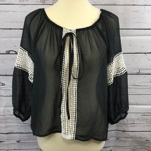 Black Polka Dotted Sheer Blouse